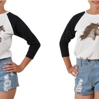 Women's Horse Drawing Printed Elbow Sleeves T- Shirt WTS_03