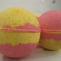 2 Raspberry Lemonade Bath Bombers - kid friendly bath bombs with a surprise inside