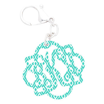 Mint Ikat Fancy Monogram Acrylic Keychain