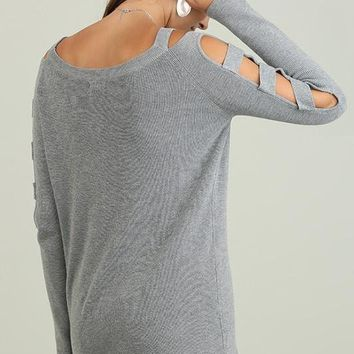 Grey Boat Neck Sweater