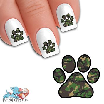 Green Camo Paw Print - Nail Art Decals (Now! 50% more FREE)
