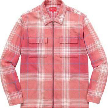 DCK7YE Supreme Faded Plaid Flannel Zip Up - Rose