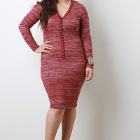 Snap Button Melange Knit Midi Dress