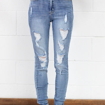 Super Stretch High Waisted Distressed Jeans {Light Wash}