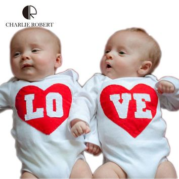 New Baby Clothing Twin Baby Bodysuit Long Sleeve Jumpsuit Newborn Infant Twin Brother Sisters Costume Boys Girl Autumn Clothes
