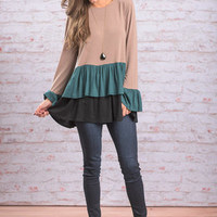 Life Is A Highway Top, Taupe-Teal