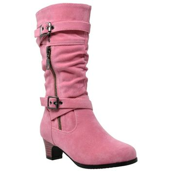 Knee High Strappy Buckle Zip Boots