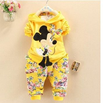 BibiCola Spring Autumn baby girls christmas outfits children hoodies+pants clothes sets kids minnie mouse Sport suit clothing
