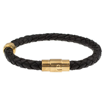 Mister Braid Leather Bracelet - Black & Gold