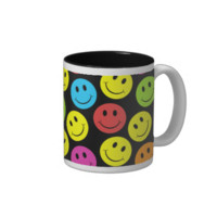 Happy Colorful Smiley Faces Pattern Coffee Mug