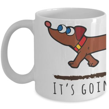 Dachshund Dog Coffee Mug – It's Going To Be A Long Day - Art Wrap Around Cofee Design for Wiener Dogs Lover – Great Coffe Gift for Family or Holiday Season v2.0
