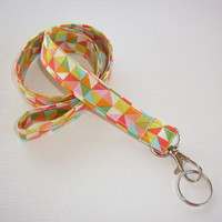 Lanyard ID Badge Holder - Garden Gem Triangles - Lobster clasp and key ring
