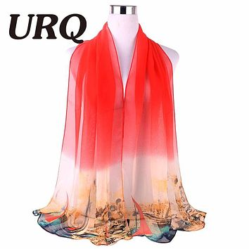 Fashion NEW arrival Sheer Chiffon Scarf Brand URQ  Women Ombre colors georgette silk scarves shawl female long Q5A16540