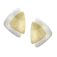 Marjorie Baer Large Asymmetrical Brass on Silver Clip On Earrings