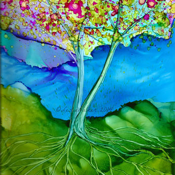 Original Painting Abstract Tree Alcohol Ink Art Leslie Walker SFA