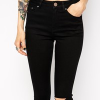 ASOS PETITE Ridley High Waist Ultra Skinny Jeans In Clean Black With Displaced Ripped Knees