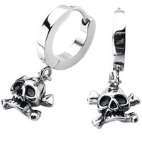 Women's Stainless Steel Dangling Bone Skull Huggies Earrings