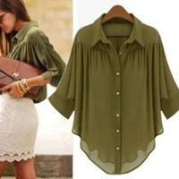 Green Bat Sleeve Chiffon Blouse Shirt