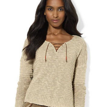 Petite Open-Knit Lace-Up Sweater | Lord and Taylor