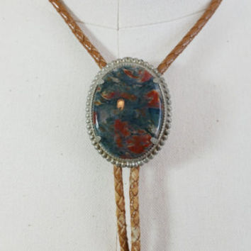 Vintage Blue Red Agate Stone Bolo Tie Silver Toned Setting Accessory Necklace