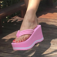 2017 Women Summer High Heel Slippers Platform Sandals Ladies Wedges Sandals Brand Flip Flops Shoes Women Beach Slippers