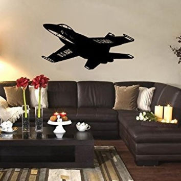 US Navy FA-18 Blue Angels Jet Airplane Silhouette Vinyl Wall Decal Sticker