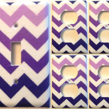 Purple White Chevron Light Switch Plate Set 1&4 Wall Home Decor Bedroom Bathroom Kitchen