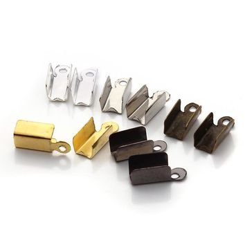 XINYAO 200pcs/lot Metal End Caps End Clasps For Leather Cord Gold/Silver Color Crimp Bead Connectors For DIY Jewelry Making F19