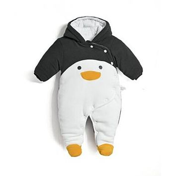 2018 autumn winter baby Clothes newborn jumpsuit infant cotton thick overalls baby warm rompers penguin animal style