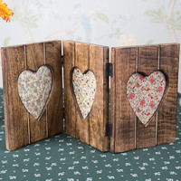 Triple Heart Photo Frame in Dark Wood