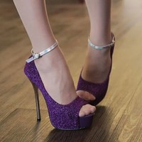 New Trendy Women's Ankle Buckle High Heel Opened Peep Toe Stiletto Sandals Shoes