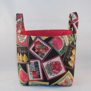 Black and Red Fruit and Vegetable Themed Fabric Kitchen Basket With Handles For Storage or Gift Giving