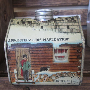 Vintage 1984 New England Container Co Maple Syrup LOG CABIN Tin Box Canister