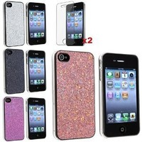 eForCity 4 Bling Glitter Hard Case Skin compatible with iPhone? 4 4G Version iPhone? 4S - AT&T, Sprint, Version 16GB 32GB 64GB, with 2 screen protector free