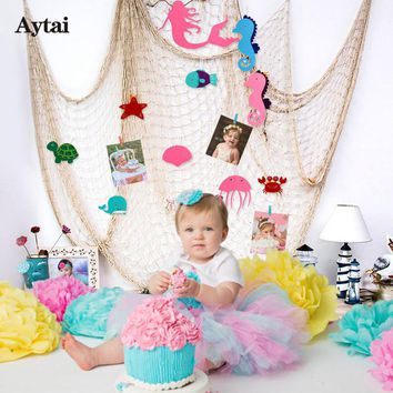 Aytai Baby Shower DIY Fishing Net Favors Mermaid Party Supplies Birthday Party Decorations Kids Children Room Decoration