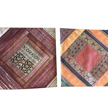 2 Square Silk Cushion Cover Indian Sari Border Bohemian Toss Pillow Cases