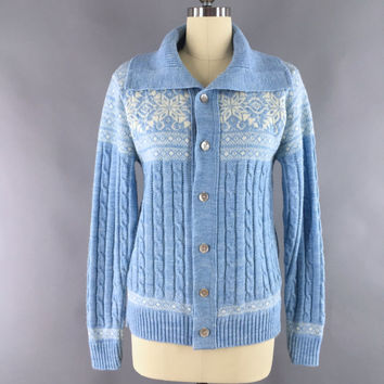 Vintage Sweater Cardigan / 1970s Blue Boyfriend Sweater Cardi / 70s Jantzen Snowflakes Fair Isle / Size Medium Large M L