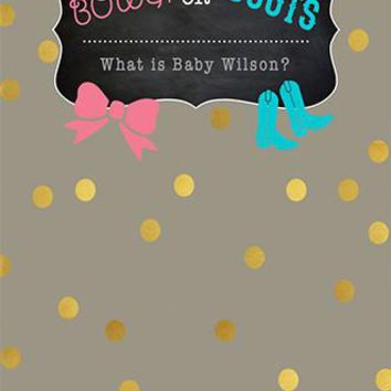 Custom Baby Shower Gender Reveal Western Backdrop Bows Or Boots Party (ANY TEXT) Wedding, Anniversary, Birthday - C0139