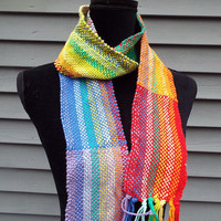 Rainbow Scarf, Hand-woven Cotton Scarf, Colorful Spring Scarf, Lighweight Scarf, Gifts for Mom, Mothers Day, Gifts for her, Hand-Weaving