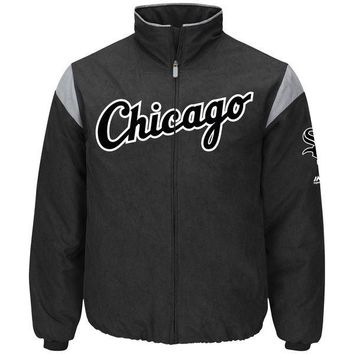 Men's Chicago White Sox Majestic Black On-Field Therma Base Thermal Full-Zip Jacket