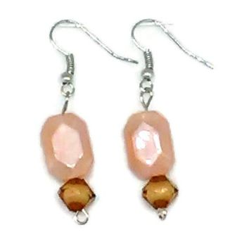 Pink Faceted Rectangle with Faceted Round Bead Earrings