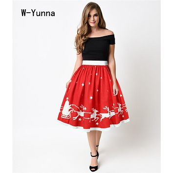 W-Yunna Christmas Red Midi Skirts Womens Knee-Length Elegant Pleated Skirt Elastic Waist Women Skirt Vintage Flared Skater Skirt