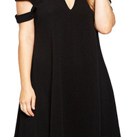 Stylish Black Plus Size Cold Shoulder Swing Dress