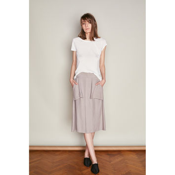 White Tencel Loose fit Crew T-shirt with Asymmetric Pleat