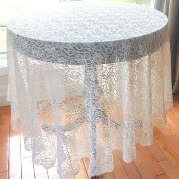 "Vintage Tablecloth, Large Lace Tablecloth,78"" Round Table Cover,Off White Lace Table Linen,Altar Cloth,Cottage Chic Vintage Linen,Boho Decor"