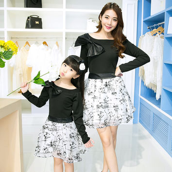 6011# High Quality Matching Mother Daughter Clothes Mom and Daughter Girl Dress 2016 Spring and Autumn Family Look Outfits