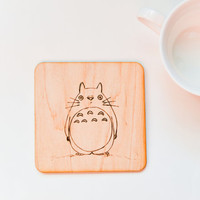 Woodburned Totoro Coaster - Eco Friendly Gift for Kids - Pyrography Anime Coaster - Woodburning