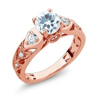 2.01 Ct Round Sky Blue Aquamarine 18K Rose Gold Plated Silver Engagement Ring