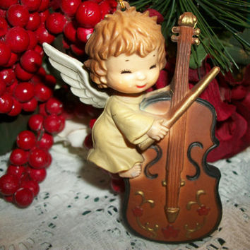 Vintage Christmas Tree Ornament Angel Playing Cello Violin 1950's Hong Kong Heavy Molded Plastic Holiday Home Decor Musician Cherub Girl
