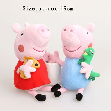 19cm Peppa Pig Hard Wash Peppa&George Pig Mom&Daddy Large Size Pig Toys = 1695689028